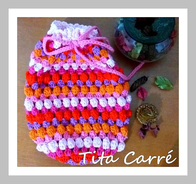 Saco  Ponto pipoca em crochet