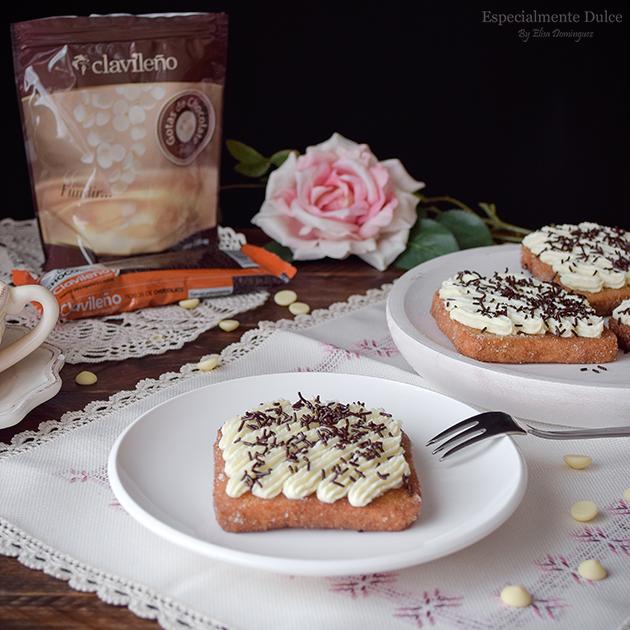 torrijas con miel y chocolate blanco receta
