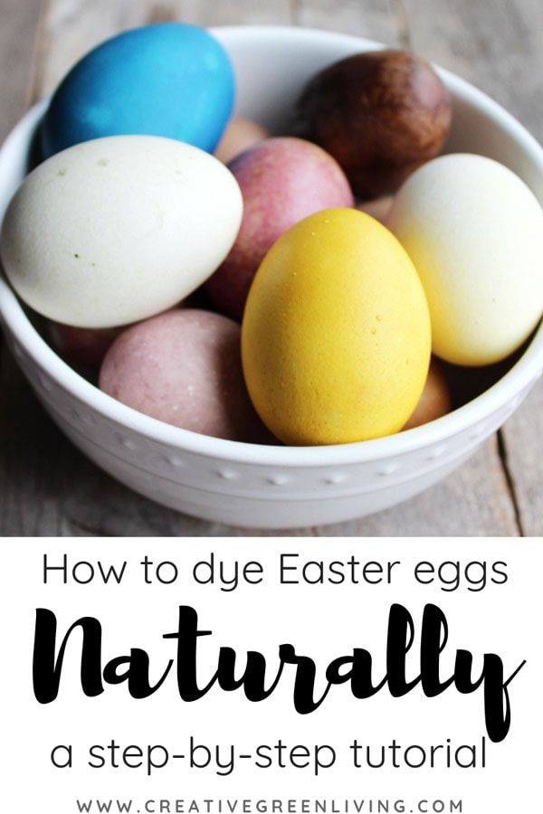 Learn how to make natural egg dye in your kitchen at home with vegetables, herbs, spices and vinegar. This is a fun, natural easter idea to get a rainbow of colors! Have a fun DIY easter egg dying day in your kitchen with cabbage, beets, fruit, onions, turmeric and more. #creativegreenliving #easter #naturaleastereggs #naturaleggdye #naturaldye #eastereggs #howtodyeeggs