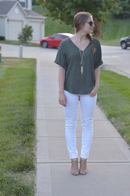 how to style an olive shirt | olive top with white denim jeans | how to style white jeans | white and olive | summer outfit ideas | cute outfit ideas for fall | what to wear this summer | olive green top |