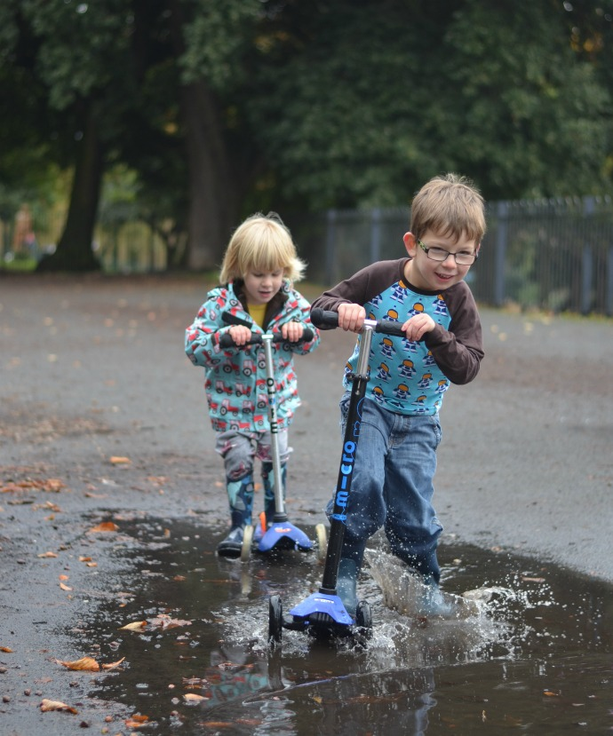 Bogs wellies, micro scooters, puddle splashing, puddle scooting