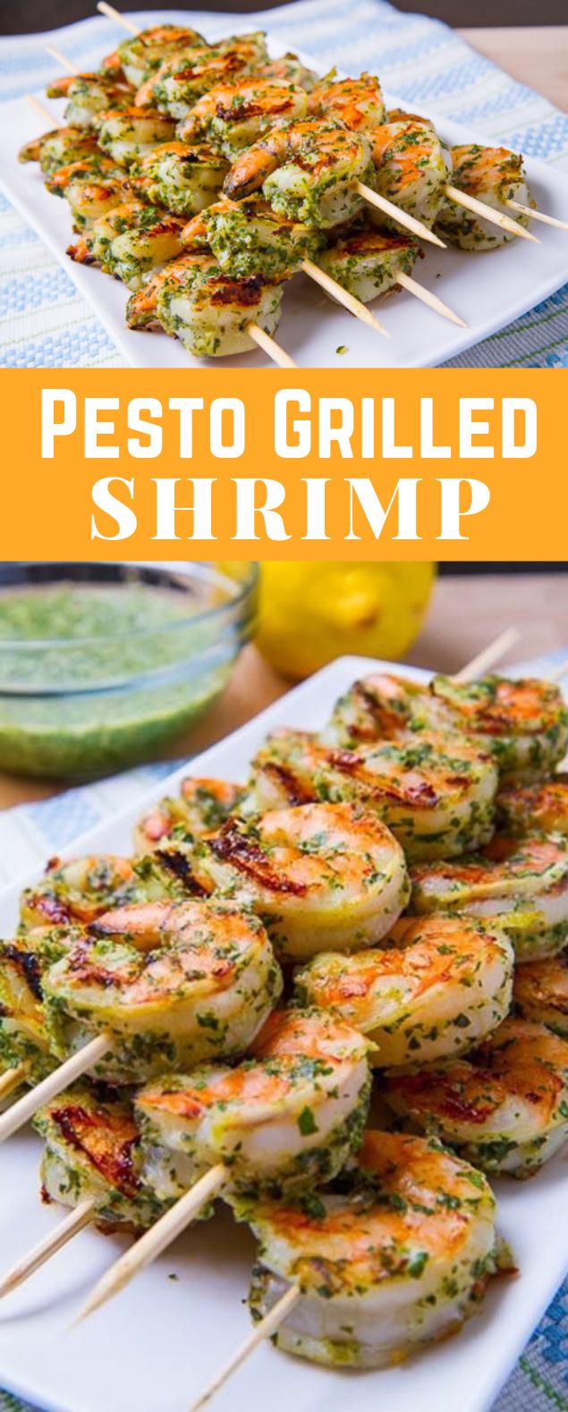 Pesto Grilled Shrimp #BBQ #Weeknight