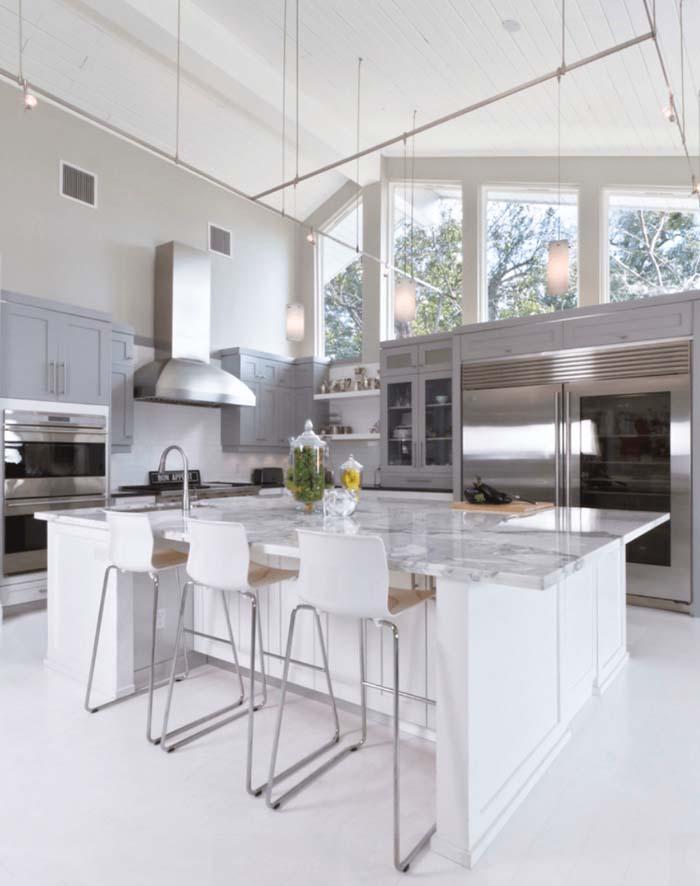 gri beyaz mutfak dekorasyonu