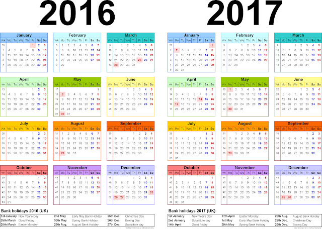 Two year Printable Calendars for 2016/17