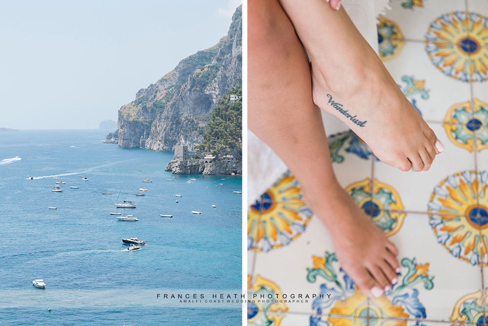 Positano wedding day details boats and wanderlust tattoo
