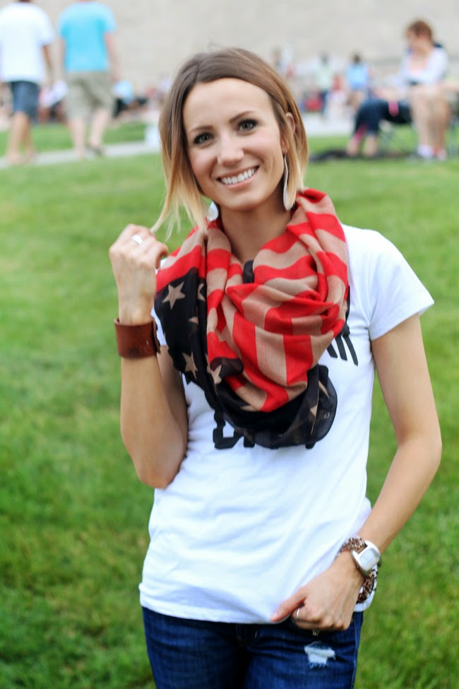 Flag scarf, graphic tee and distressed denim