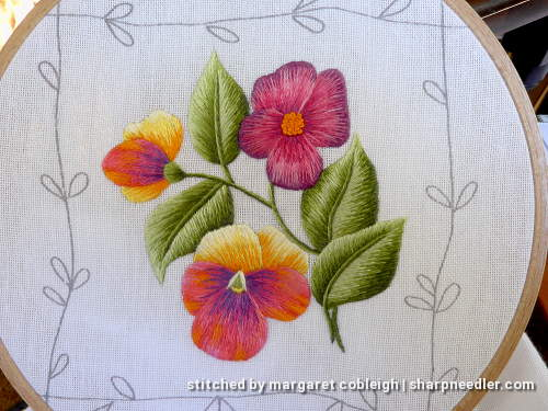 Pansies element from Duftin table runner. House of Embroidery threads were used along with threads that came with the kit.