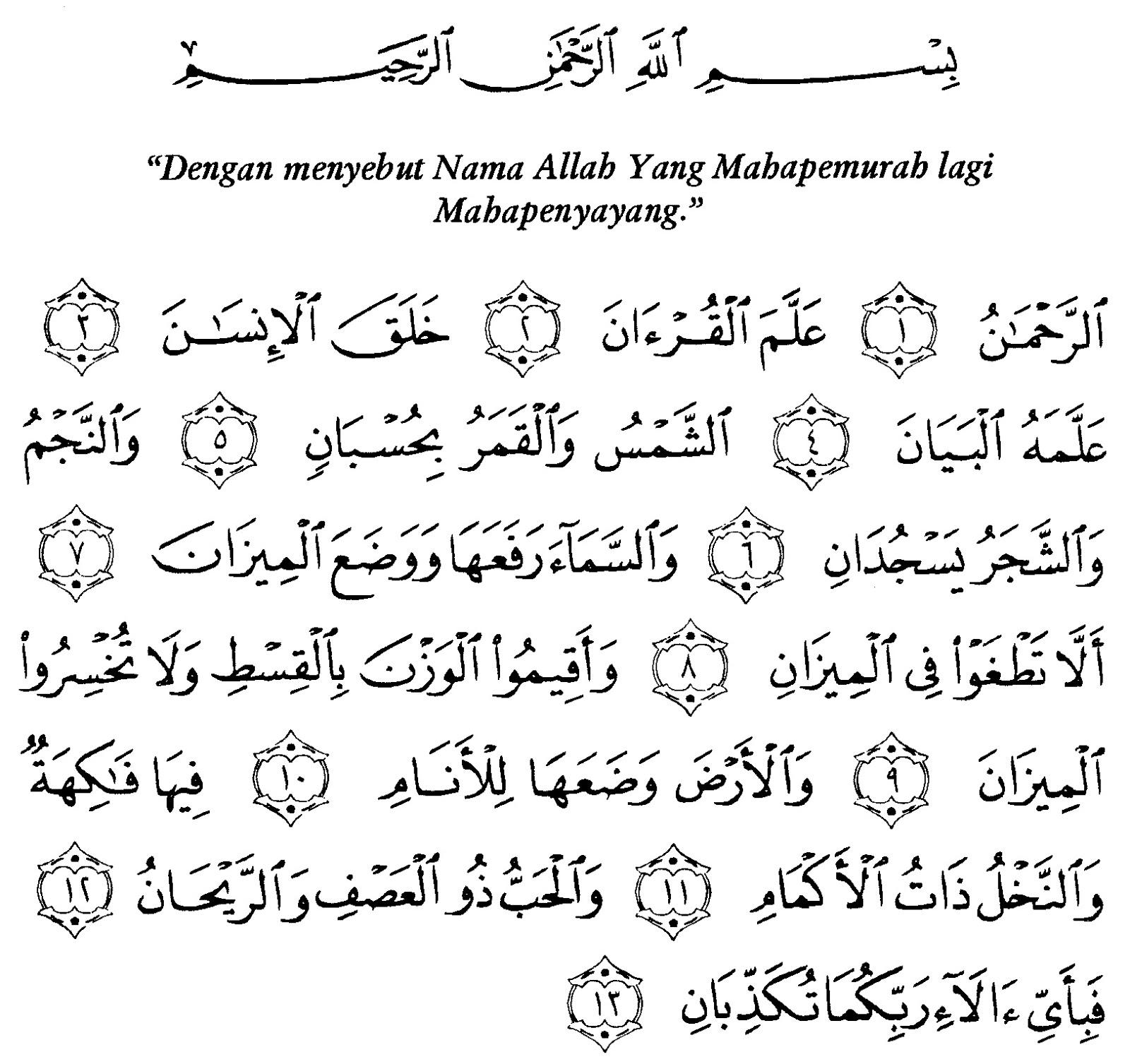 Bacaan Surat Ar Rahman Lengkap Arab Latin Dan Artinya