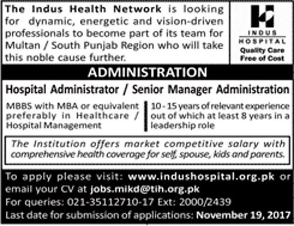 The Indus Health Network Jobs November 2017