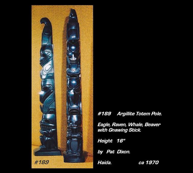 16 inch argillite totem pole