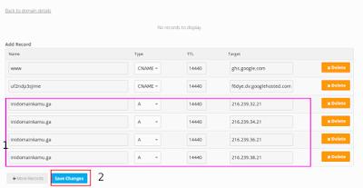 Lalu masukkan ip dari blogspot seperti dibawah ini setelah itu simpan / save