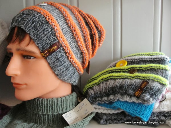 knitted hats at the Kolfreyja Gallery in Faskrudsfjordur, Iceland