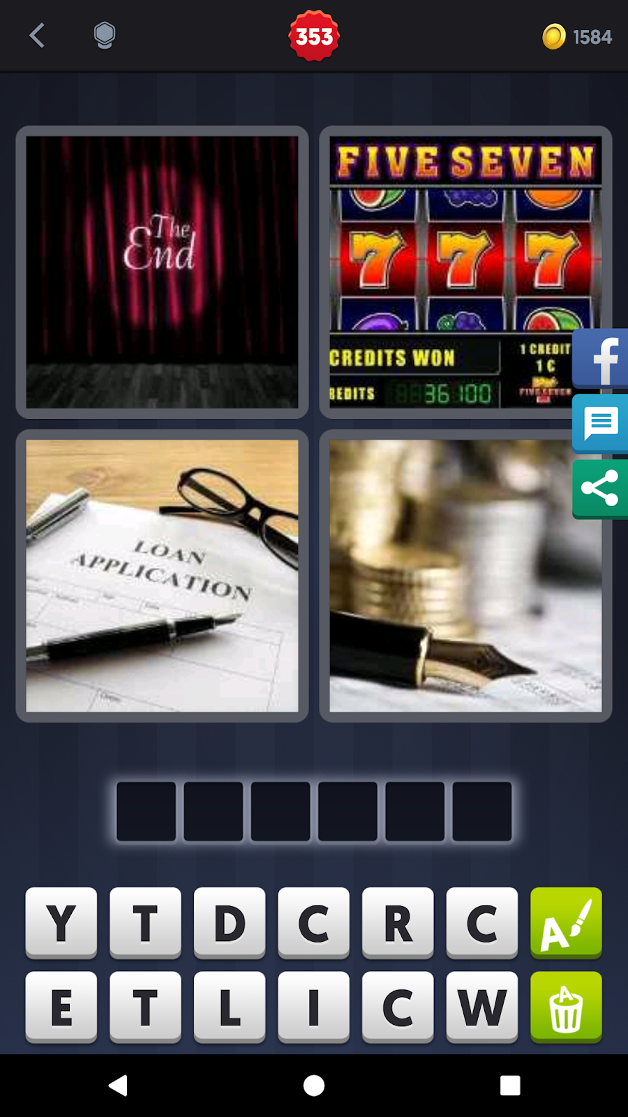 4 Pics 1 Word Answers Solutions Level 353 Credit
