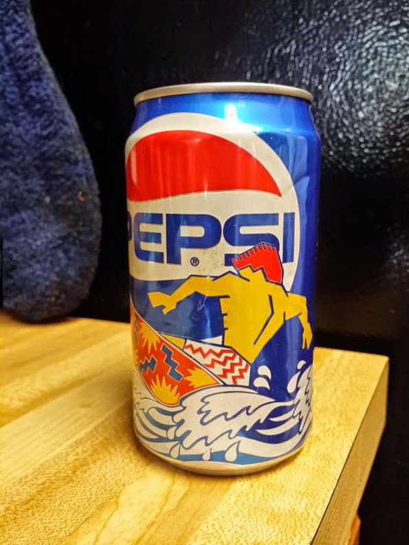 Pepsi from the 1990s with a surfer
