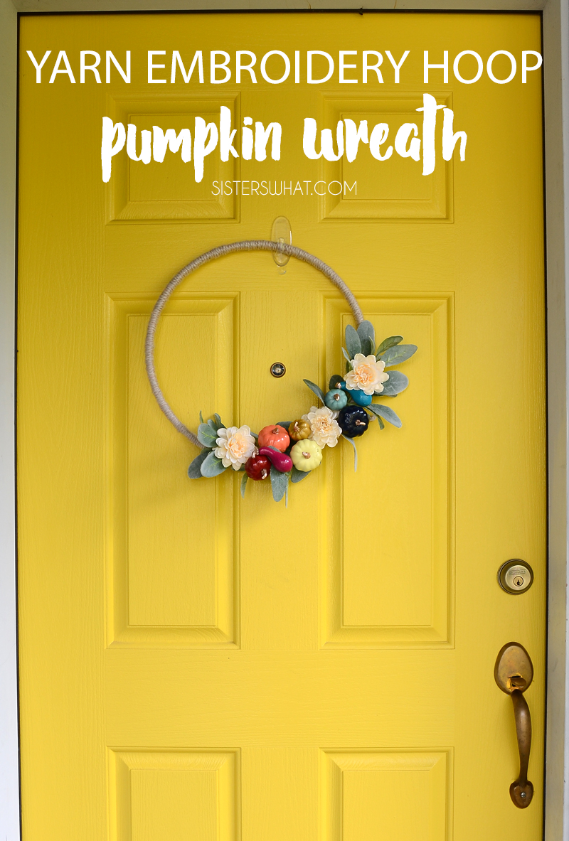 Yarn Embroidery hoop Pumpkin wreath