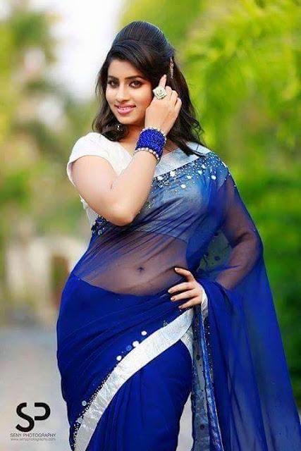 Beautiful Desi Diva Latest Blue Transparent Saree Photos With Backless -5858