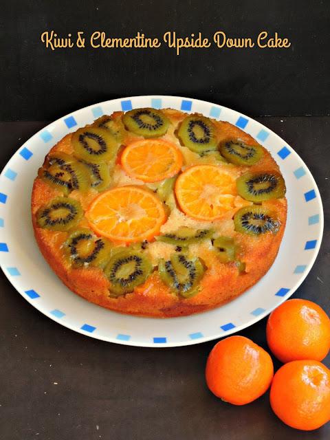 Kiwi & clementine upside down cake