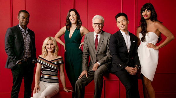 promotional image of the cast of The Good Place