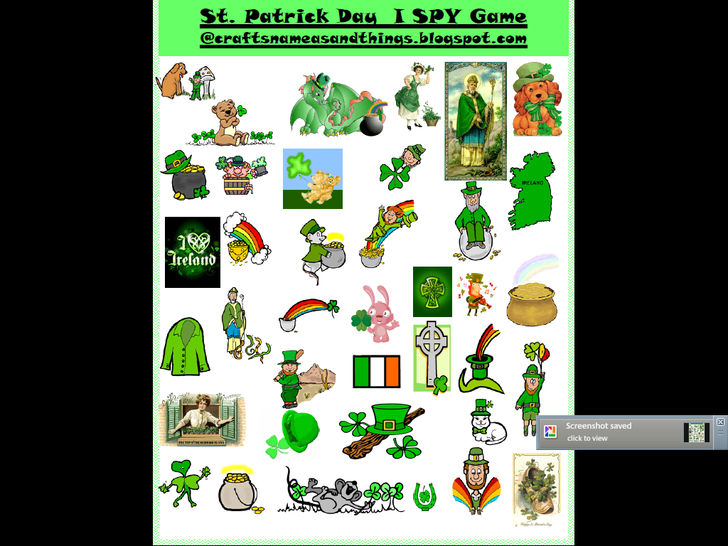 Crafts Names And Things Free St Patrick S Day I Spy Game Printable