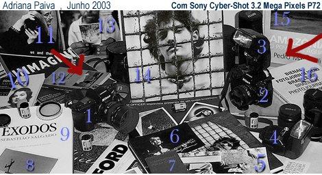 Minhas máquinas fotográficas  Nikon F90x e N90s ,  alguns de meus livros , postais , fotos,  etc.