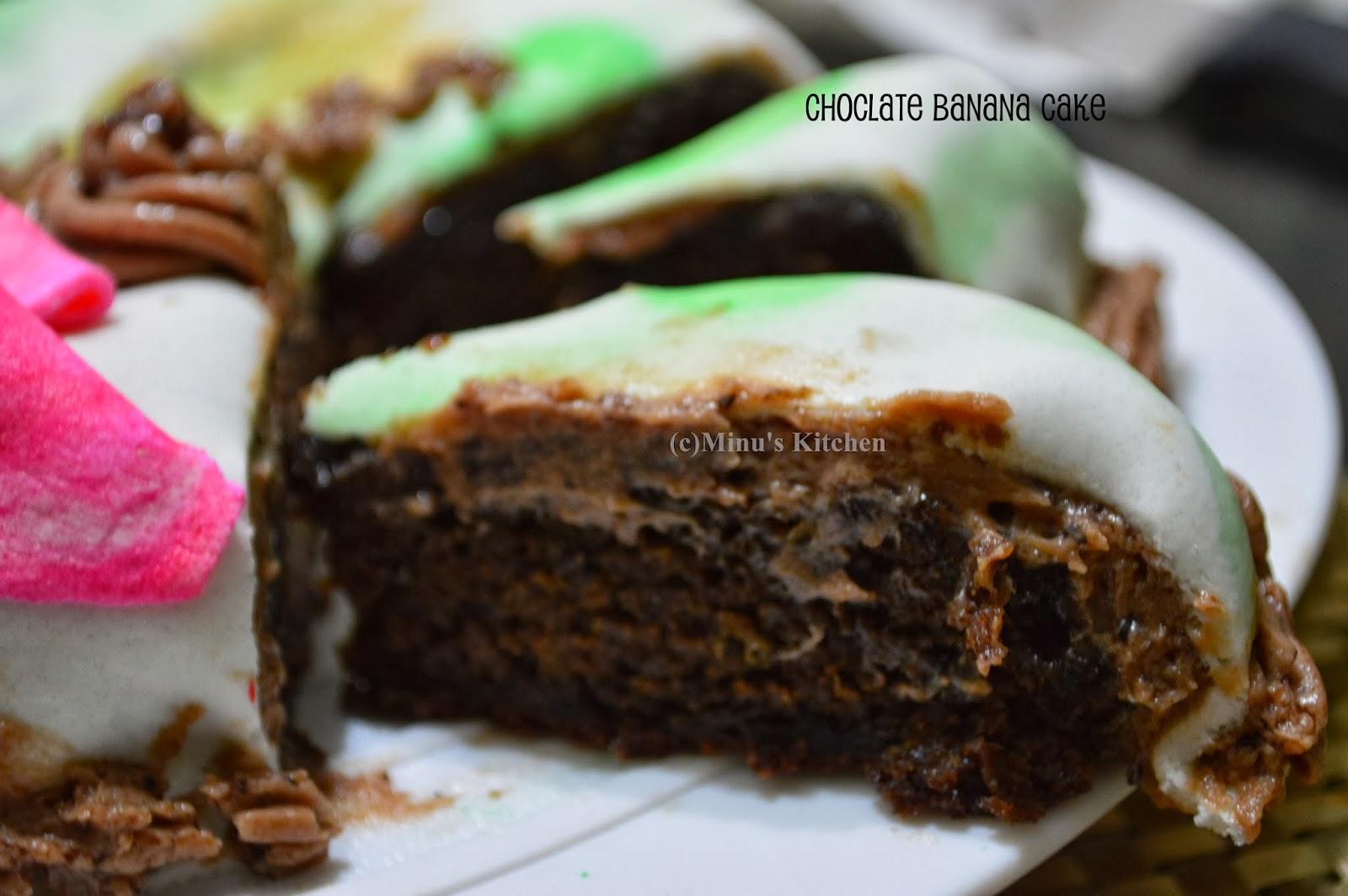 Pastry Cake Recipe In Malayalam: Chocolate Banana Cake With Marshmallow Fondant (Christmas