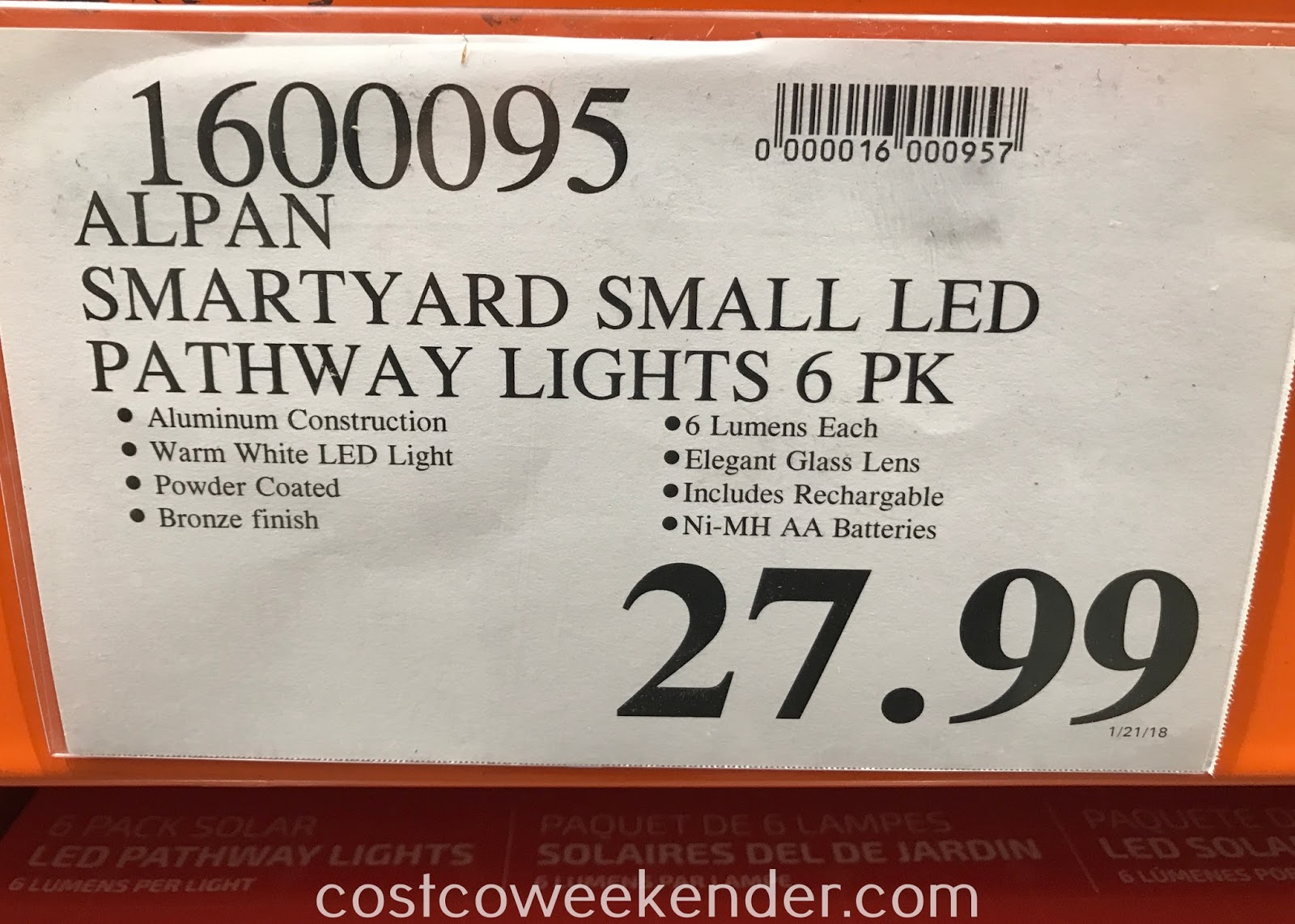 Deal for a 6 pack of Alpan SmartYard Solar LED Pathway Lights at Costco
