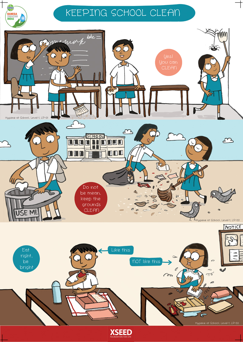 school cleanliness Cleanliness in the community (sanitation), cleanliness in the home, and personal cleanliness are all important to prevent these sicknesses by stopping the spread of germs for example: 1.