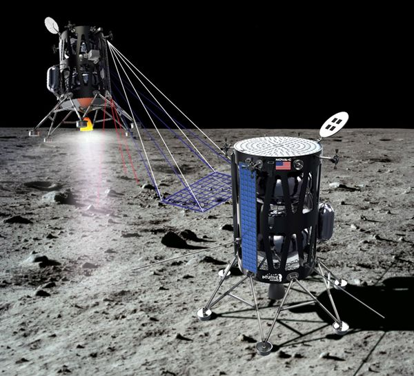 An artist's concept of Intuitive Machines' lunar lander on the surface of the Moon.