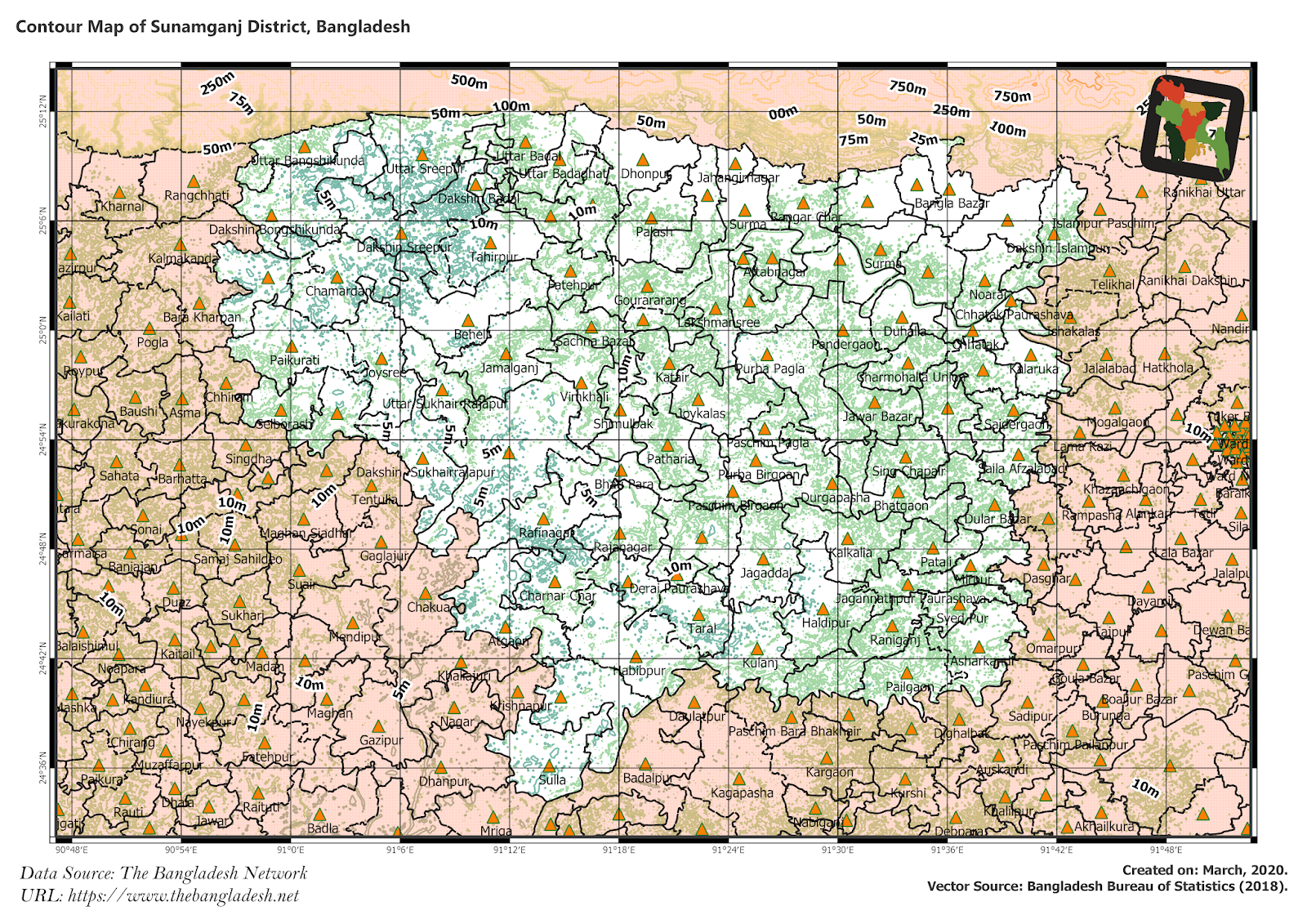 Elevation Map of Sunamganj District of Bangladesh