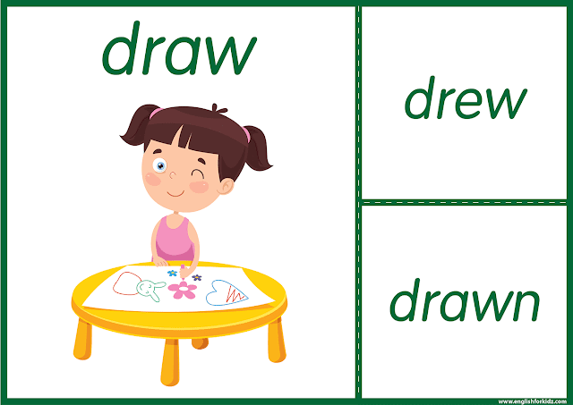 Irregular verb draw - printable ESL flashcards