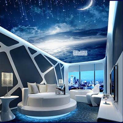 3D ceiling printed image for hi tech bedroom interior