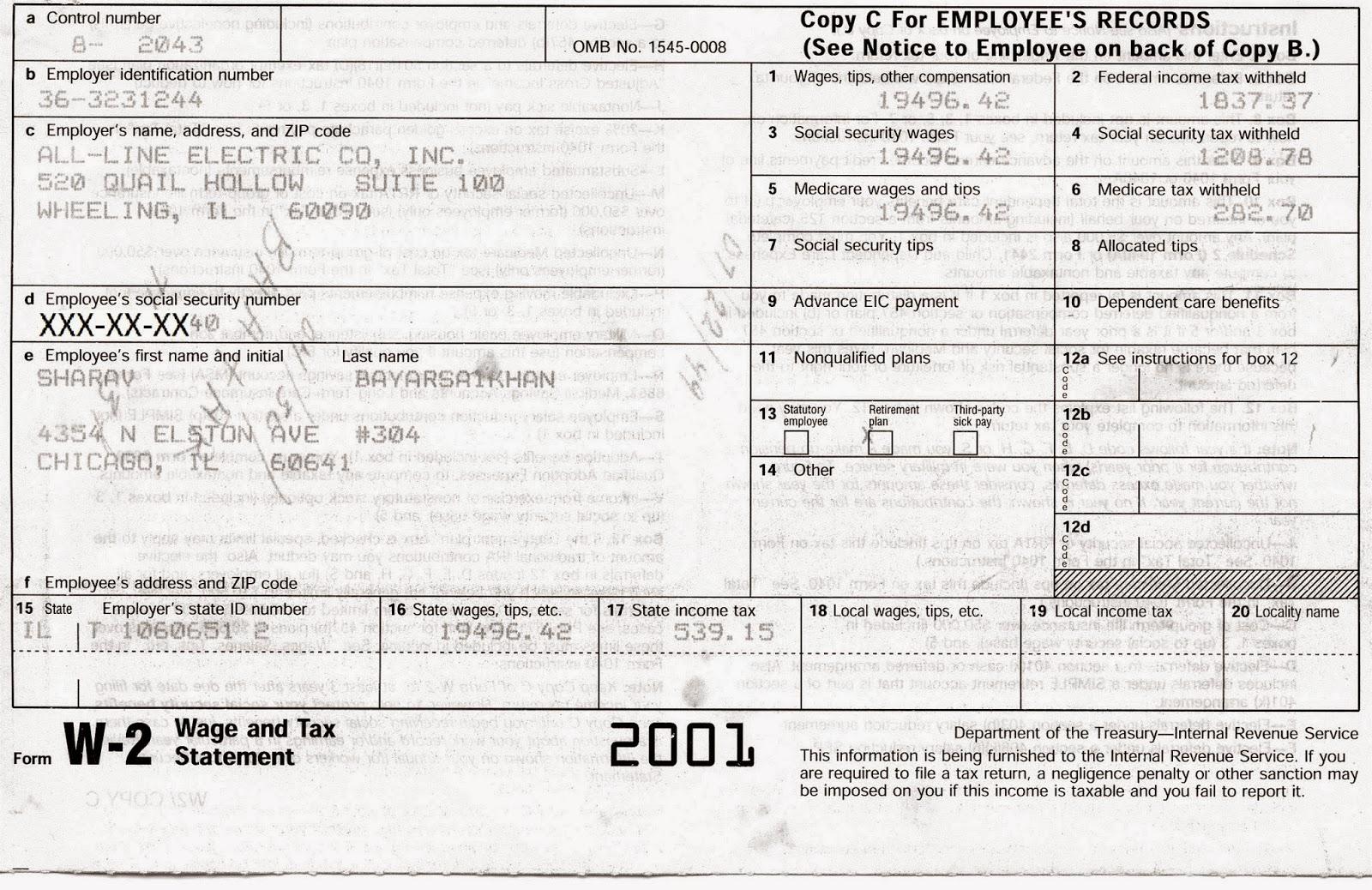 electric work  tax return  2001