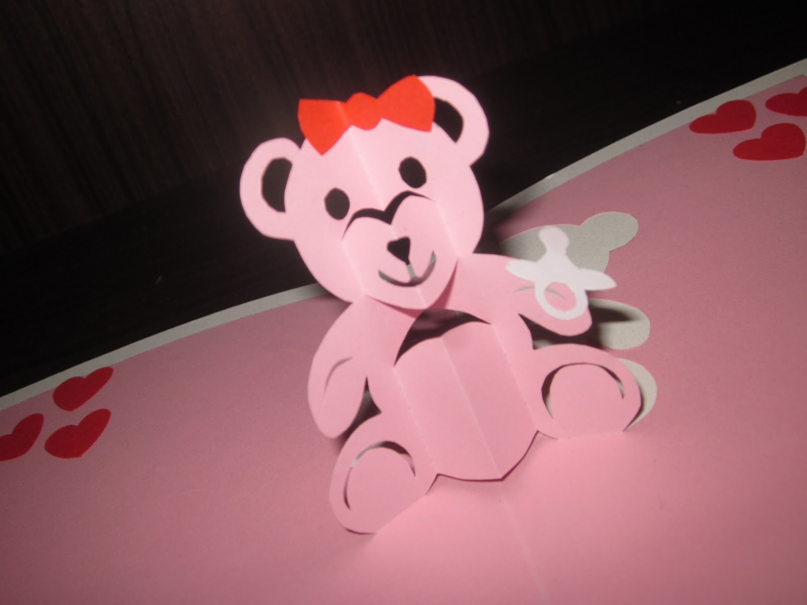 Baby Pink Teddy Bear Pop Up Card With Quilled Heart