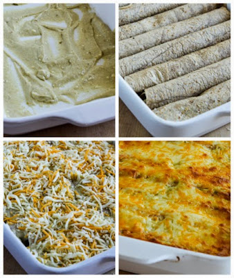 assembling casserole for Low-Carb Green Chile Chicken Enchilada Casserole found on KalynsKitchen.com