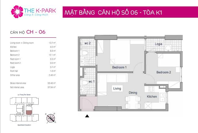 Thiết kế căn hộ 53m với 02 phòng ngủ tại The K-Park