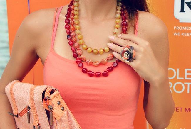 Glam Chameleon Jewelry Tequila sunrise handmade necklace