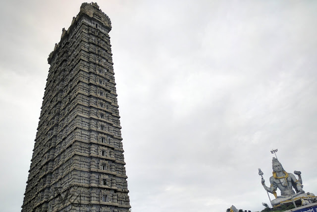 The massive Raja Gopura along with the colossal statue of Lord Shiva