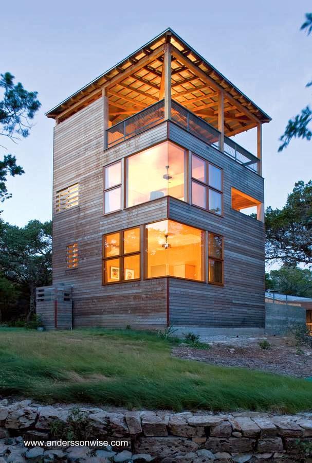 Casa torre cabaña de madera contemporánea en Texas, Estados Unidos