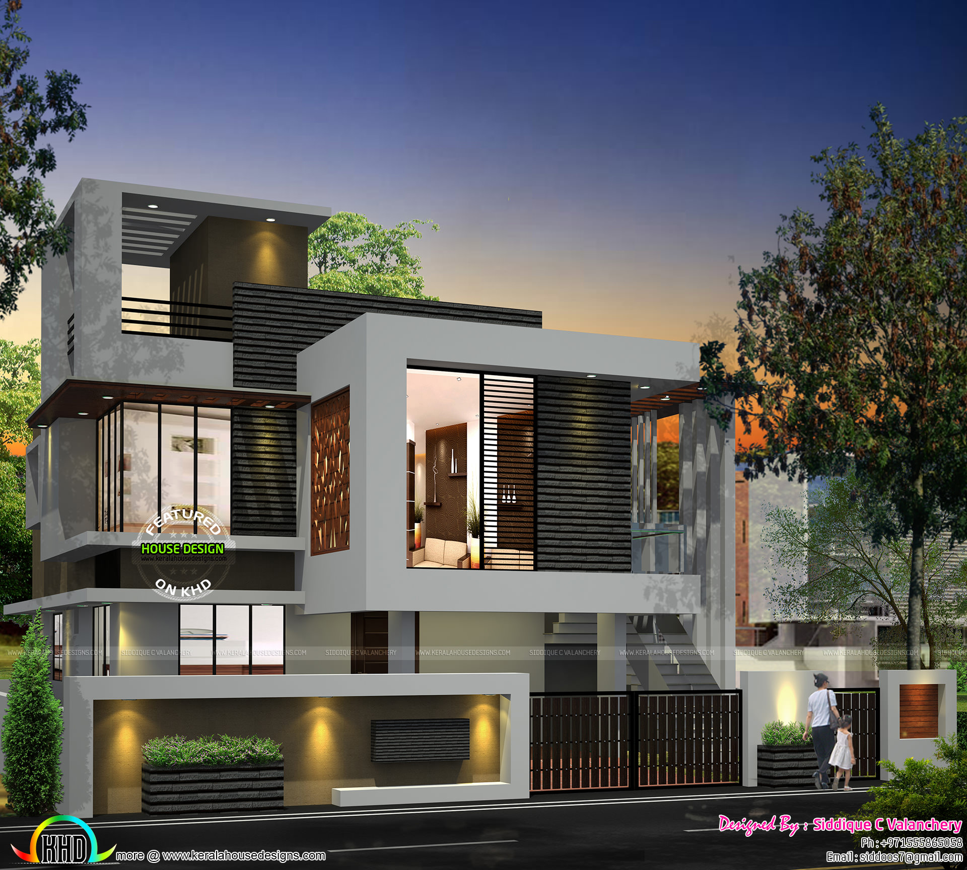 Front Elevation Square : Single floor turning to a double home kerala