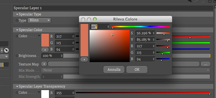 riflessione rame cinema4D vray
