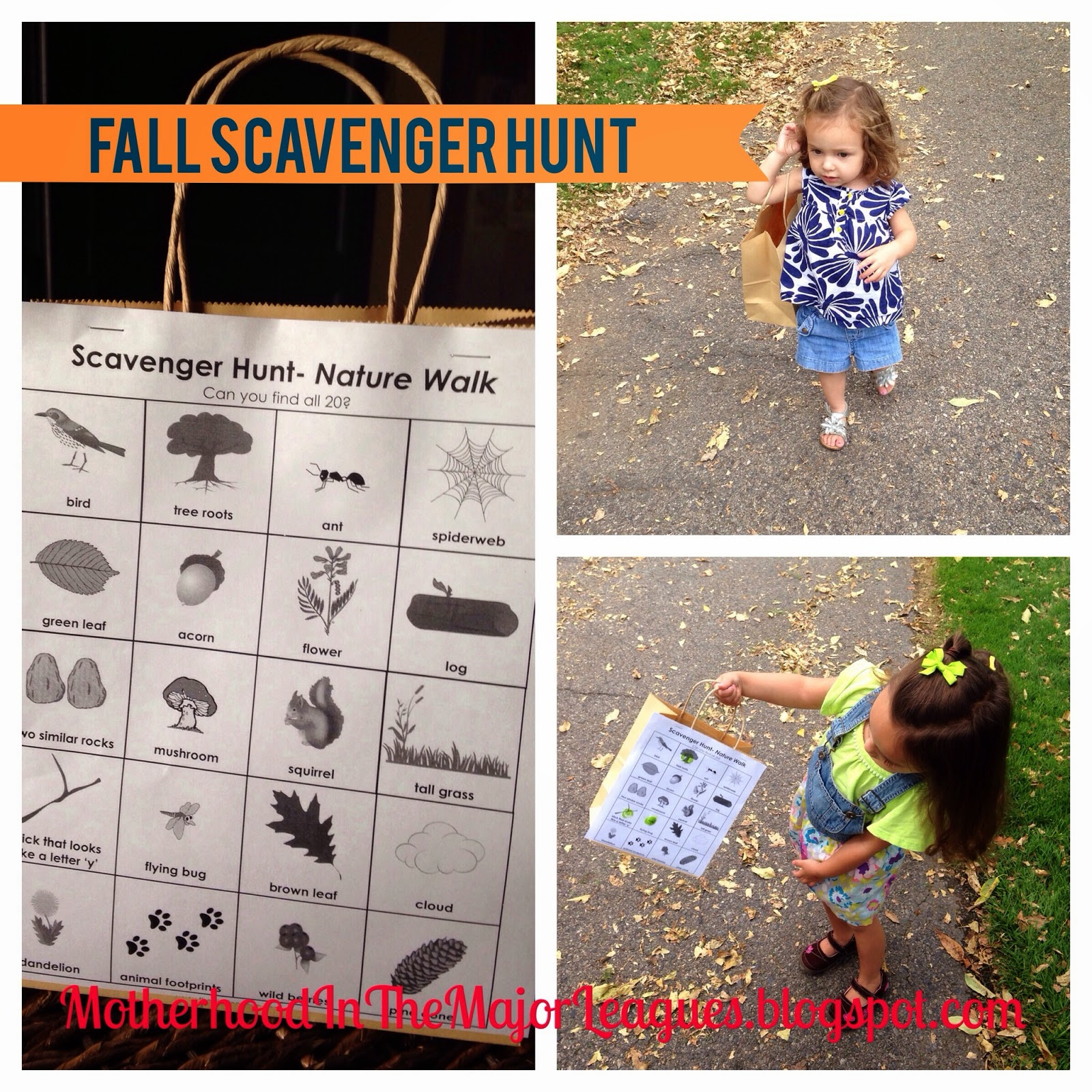 Motherhood In The Major Leagues Fall Scavenger Hunt Nature Walk And Activities
