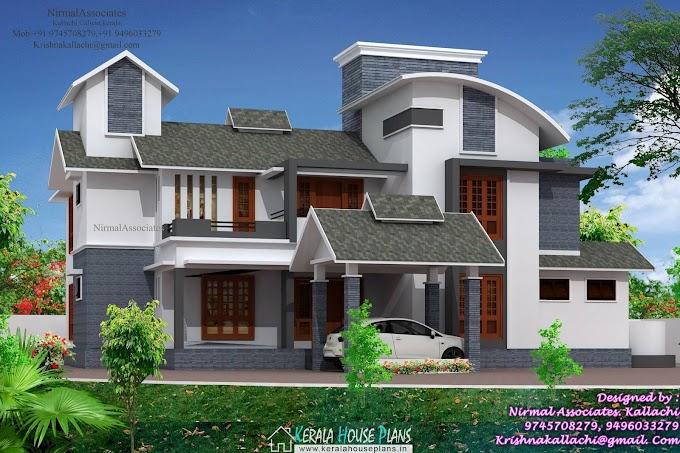Cute kerala house elevation design
