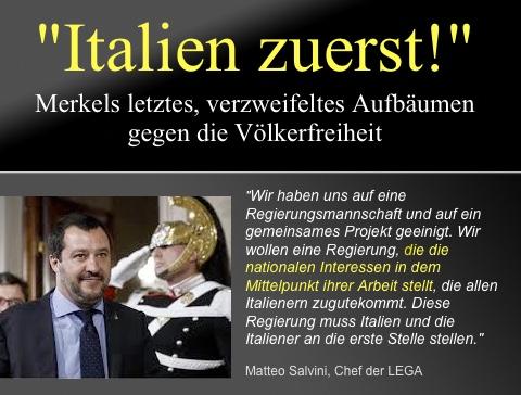 Italien: Merkels letztes, verzweifeltes Aufbäumen gegen die Völkerfreiheit