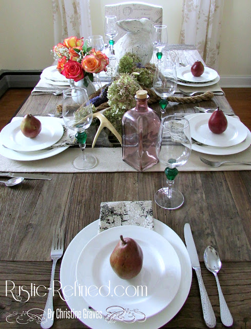 Spring Tablescape mixing both modern and rustic decor