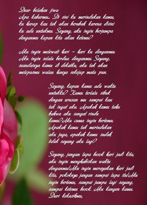 Surat Cinta Kangen Untuk Kekasih