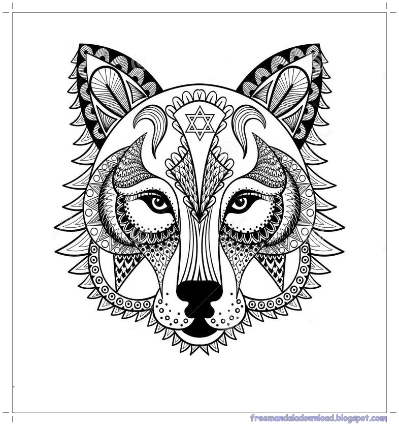 Malvorlagen Wolf-Mandala-hohe Qualitt/Wolf mandala ...
