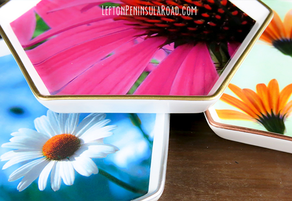 Easy decoupage craft. Make pretty jewelry dishes to give as gifts.