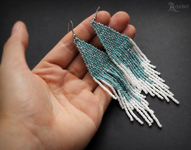купить длинные висячие серьги из бисера ручной работы этника