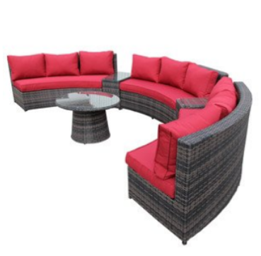 Curved patio furniture outdoor furniture for Curved sectional sofa amazon