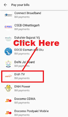 how to recharge dish tv online on tez app